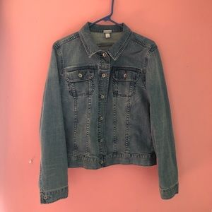 Women's Large Jean Button Up Jacket Long Sleeved